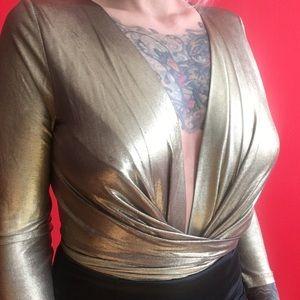 celyn b. Tops - Celyn b. Gold wrap bodysuit 40